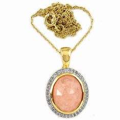 Natural morganite white topaz 925 silver 14k gold pendant necklace a32425