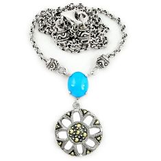 Blue sleeping beauty turquoise marcasite 925 silver necklace a64908