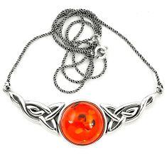 Orange amber round 925 sterling silver necklace jewelry a76541