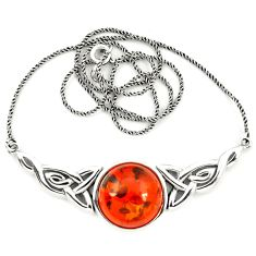 Orange amber round 925 sterling silver necklace jewelry a76542