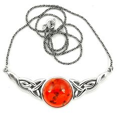 925 sterling silver orange amber round shape necklace jewelry a76543