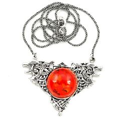 Orange amber round 925 sterling silver necklace jewelry a76544