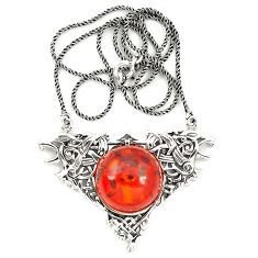Orange amber round 925 sterling silver necklace jewelry a76545