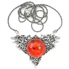 Orange amber round 925 sterling silver necklace jewelry a76549