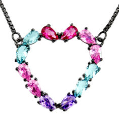 Heart black rhodium red cubic zirconia kunzite (lab) 925 silver necklace c7953