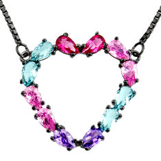 Heart black rhodium red cubic zirconia kunzite (lab) 925 silver necklace c7954