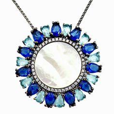 Black rhodium white cubic zirconia sapphire (lab) 925 silver necklace c7955