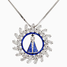 6.24cts white cubic zirconia sapphire (lab) 925 sterling silver necklace c7958