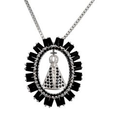 6.48cts black cubic zirconia 925 sterling silver necklace jewelry c7960