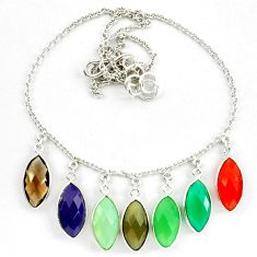Green chalcedony smoky topaz 925 silver necklace jewelry d10321