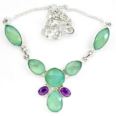 Natural aqua chalcedony amethyst 925 sterling silver necklace jewelry d10336
