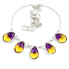 925 sterling silver multi color ametrine (lab) pear necklace jewelry d10339