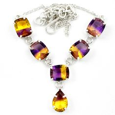 Multi color ametrine (lab) 925 sterling silver necklace jewelry d10368