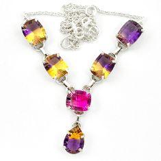 Multi color ametrine (lab) tourmaline (lab) 925 silver necklace jewelry d10370