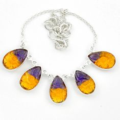 Multi color ametrine (lab) pear 925 sterling silver necklace jewelry d10372