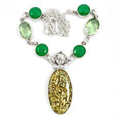 925 silver natural multi color ocean sea jasper (madagascar) necklace d10395