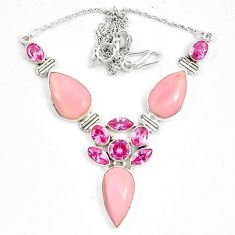 Natural pink opal kunzite (lab) 925 sterling silver necklace jewelry d10396