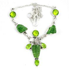 Natural green moldavite (genuine czech) peridot 925 silver necklace d10398