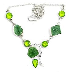 925 silver natural green moldavite (genuine czech) peridot necklace d10400