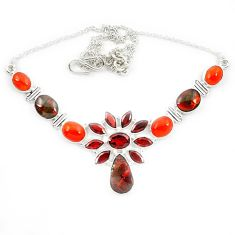 Natural ammolite (canadian) cornelian (carnelian) 925 silver necklace d13292