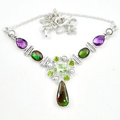 Natural multi color ammolite (canadian) 925 sterling silver necklace d13295