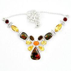 Natural ammolite (canadian) cornelian (carnelian) 925 silver necklace d13297
