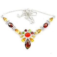 Natural ammolite (canadian) cornelian (carnelian) 925 silver necklace d13298