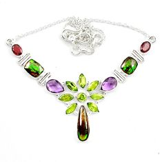 925 silver natural green ammolite (canadian) purple amethyst necklace d13299