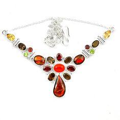Natural ammolite (canadian) cornelian (carnelian) 925 silver necklace d13300