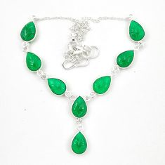 Natural green chalcedony 925 sterling silver necklace jewelry d23938
