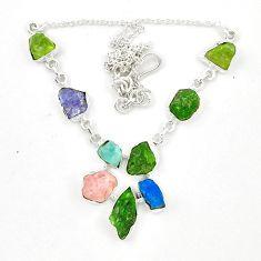 Green chrome diopside rough tanzanite rough 925 silver necklace d23939