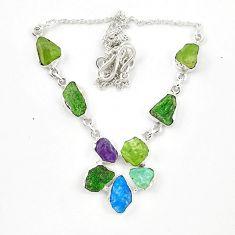 Green chrome diopside rough aquamarine rough 925 silver necklace d23940