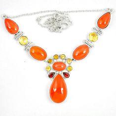 Natural orange cornelian (carnelian) citrine 925 silver necklace d23993