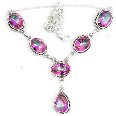 Multi color rainbow topaz 925 sterling silver necklace jewelry d23994