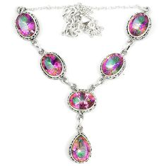 Multi color rainbow topaz 925 sterling silver necklace jewelry d23995