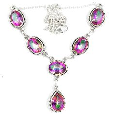 Multi color rainbow topaz 925 sterling silver necklace jewelry d23996
