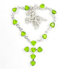 925 sterling silver natural green peridot cross necklace jewelry d25458