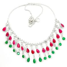 Natural green emerald ruby 925 sterling silver necklace jewelry d25459