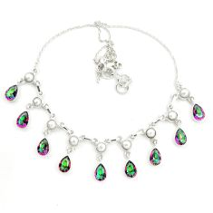 925 sterling silver multi color rainbow topaz pearl necklace jewelry d25460