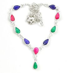 Clearance Sale- Natural blue sapphire emerald ruby 925 sterling silver necklace d25878