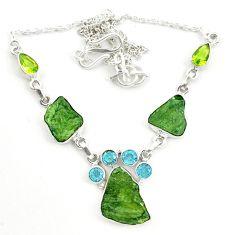 925 silver natural green moldavite (genuine czech) necklace jewelry d25895