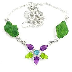 925 silver natural green moldavite (genuine czech) necklace jewelry d25896