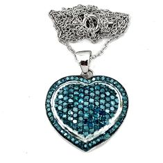 Natural blue diamond round 925 sterling silver heart necklace jewelry d5541