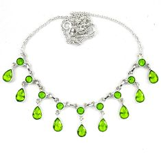 Green peridot quartz 925 sterling silver necklace jewelry d5635