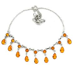 Yellow citrine quartz 925 sterling silver necklace jewelry d5636