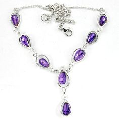 Natural purple amethyst 925 sterling silver necklace jewelry d5639