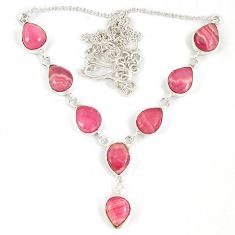 925 sterling silver pink rhodochrosite inca rose (argentina) necklace j19378