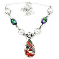 925 silver natural multi color mexican laguna lace agate necklace j36988