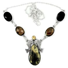 Golden pyrite in magnetite (healer's gold) 925 silver fish necklace j36992