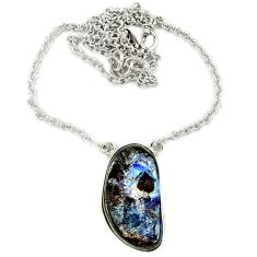Natural brown boulder opal fancy 925 sterling silver necklace jewelry j36996